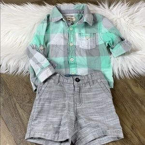 SET: Cherokee Dressy Plaid Button-Up and Shorts